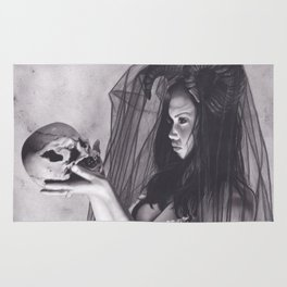 Realism Charcoal Drawing of Sexy Dark Queen in Veil with Skull Rug