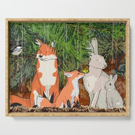 The red fox, the baby fox, the Hare and the baby hare Serving Tray