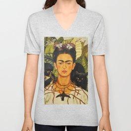 Frida Kahlo Self-Portrait Thorn Necklace and Hummingbird Unisex V-Neck