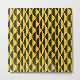 051 Traditional yellow and black navajo pattern interpretation Metal Print
