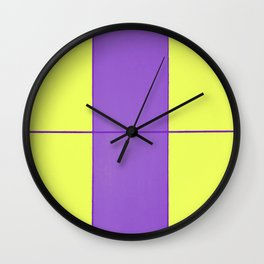 August - Purple and Yellow Wall Clock