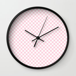 Light Soft Pastel Pink and White Checkerboard Wall Clock