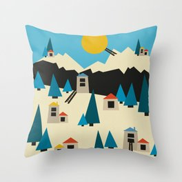 A Sunny Winter Day in the Mountain Village Throw Pillow