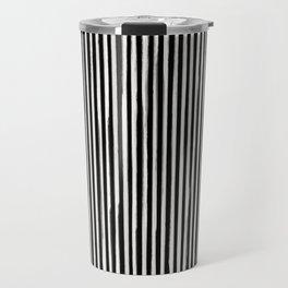 Skinny Stroke Vertical Off White on Black Travel Mug
