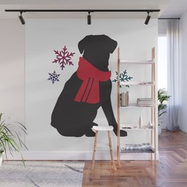 Black Dog Winter Wall Mural