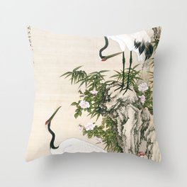 Cranes, Peach Tree, and Chinese Roses Throw Pillow