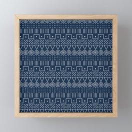 Mudcloth Style 1 in Navy Framed Mini Art Print