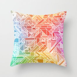 BRIGHT VIBRANT GRADIENT GEOMETRIC SHAPES RAINBOW PRINT TILED MOSAIC TIE DYE COLORFUL Throw Pillow