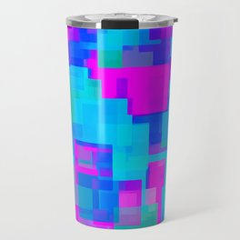 pink blue and green square abstract background Travel Mug