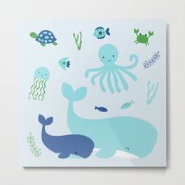 Blue Nautical Under The Sea Animals Metal Print