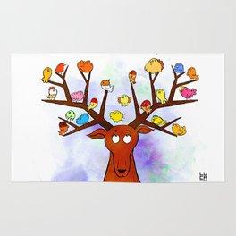 Deer with little birds Rug