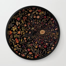 Medieval Flowers on Black Wall Clock