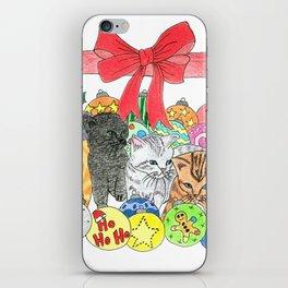 Christmas kittens iPhone Skin
