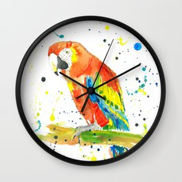 Parrot (Scarlet Macaw) - Watercolor Painting Print Wall Clock