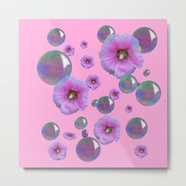 PINK-PURPLE FLOATING HOLLYHOCKS & SOAP BUBBLES PINK  ART Metal Print