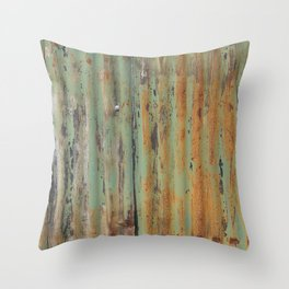 corrugated rusty metal fence paint texture Throw Pillow
