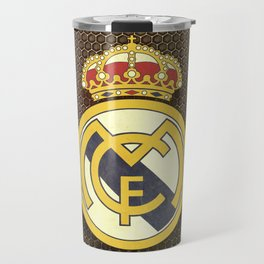 Real Madrid CF metal background Travel Mug