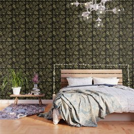 Paisley Funky Design Black and Gold Wallpaper