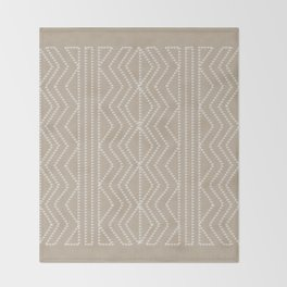 Cream Linen Beige Arrows Pattern Throw Blanket