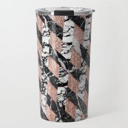 Modern Black and White Marble Rose Gold Crisscross Travel Mug