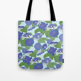 Glory Bee - Vintage Floral Morning Glories and Bumble Bees Tote Bag