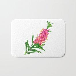 Beautiful Pink Australian Native Floral Illustration Bath Mat