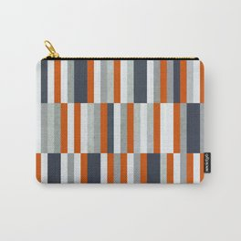 Orange, Navy Blue, Gray / Grey Stripes, Abstract Nautical Maritime Design by Carry-All Pouch