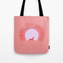 Dachshund Pink Moon Tote Bag