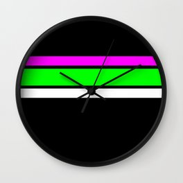 Team Colors....neon greenand pink stripes Wall Clock