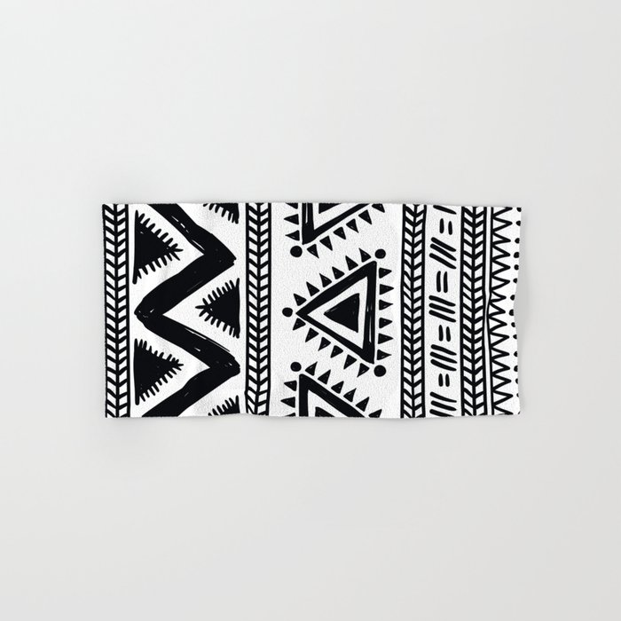 Tribal Black And White Hand Bath Towel