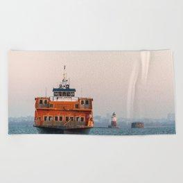 Lighthouse & Staten Island Ferry Beach Towel