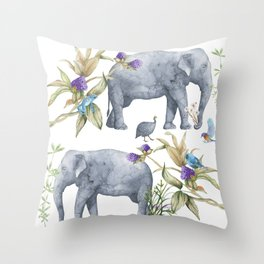 Elephants On Parade Illustration - Bagaceous Throw Pillow
