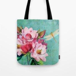 Verdigris Pink Magnolias Tote Bag