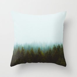 Landscape Pine Forest Green Evergreen Trees Minimalist Simple Landscape Throw Pillow
