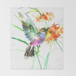 Hummignbird and Flowers Throw Blanket