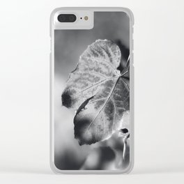 Autumn Grape Leaf in Black and White Clear iPhone Case