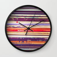 records Wall Clocks featuring Grandpa's Records by Amy Hamilton