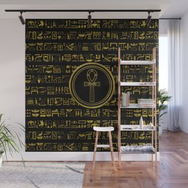 Gold Egyptian Ankh Cross symbol Wall Mural