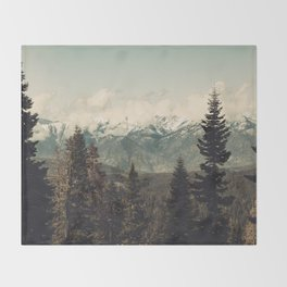 Snow capped Sierras Throw Blanket