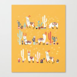 Happy llama with cactus in a pot Canvas Print