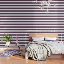 Dark byzantium - solid color - white stripes pattern Wallpaper