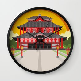 asian chinese temple Wall Clock
