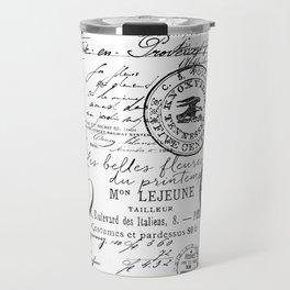 Vintage handwriting black and white Travel Mug