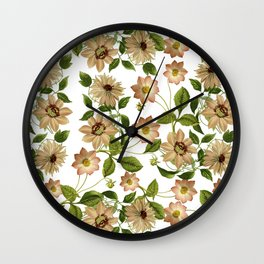Floral retro vintage pattern pastel colored Wall Clock