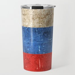 Vintage Aged and Scratched Russian Flag Travel Mug