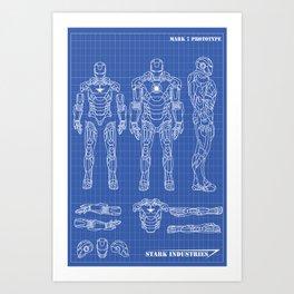 Iron Man mark 7 blueprints Art Print