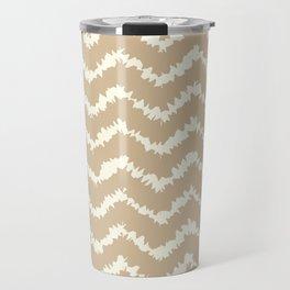Ragged Chevron - Taupe/Cream Travel Mug