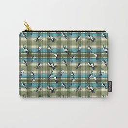 Kereru on green and turquoise plaid Carry-All Pouch