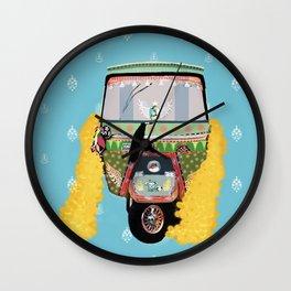 Indian rickshaw illustration Wall Clock