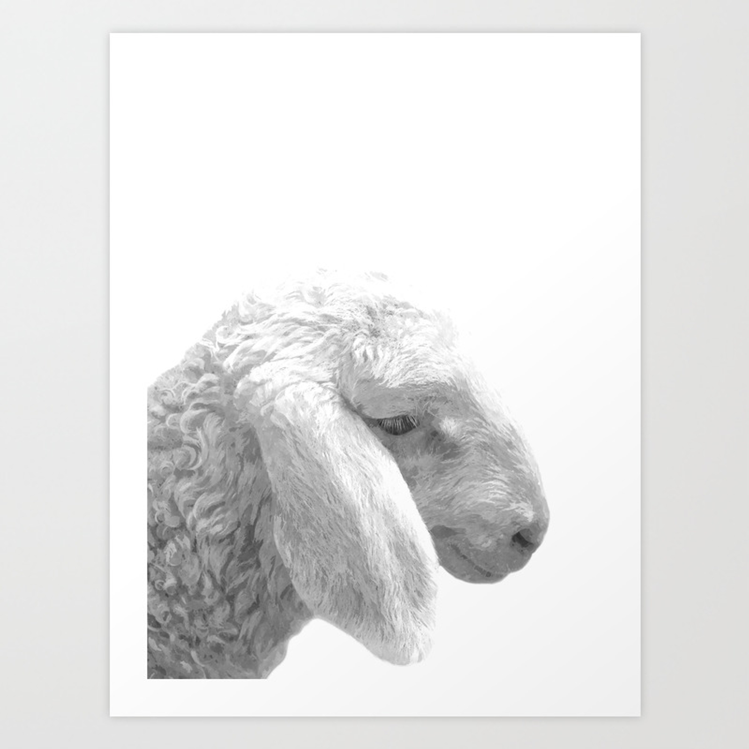 Black And White Sheep Art Print By Alemi Society6